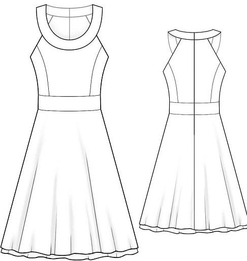 Готовая бесплатная выкройка элегантного летнего платья с юбкой в форме тюльпана, которая деликатно прикроет