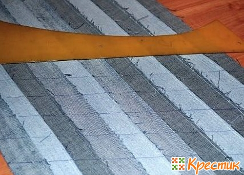 как сшить джинсовые полоски