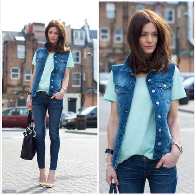 Как носить джинсовые жилетки