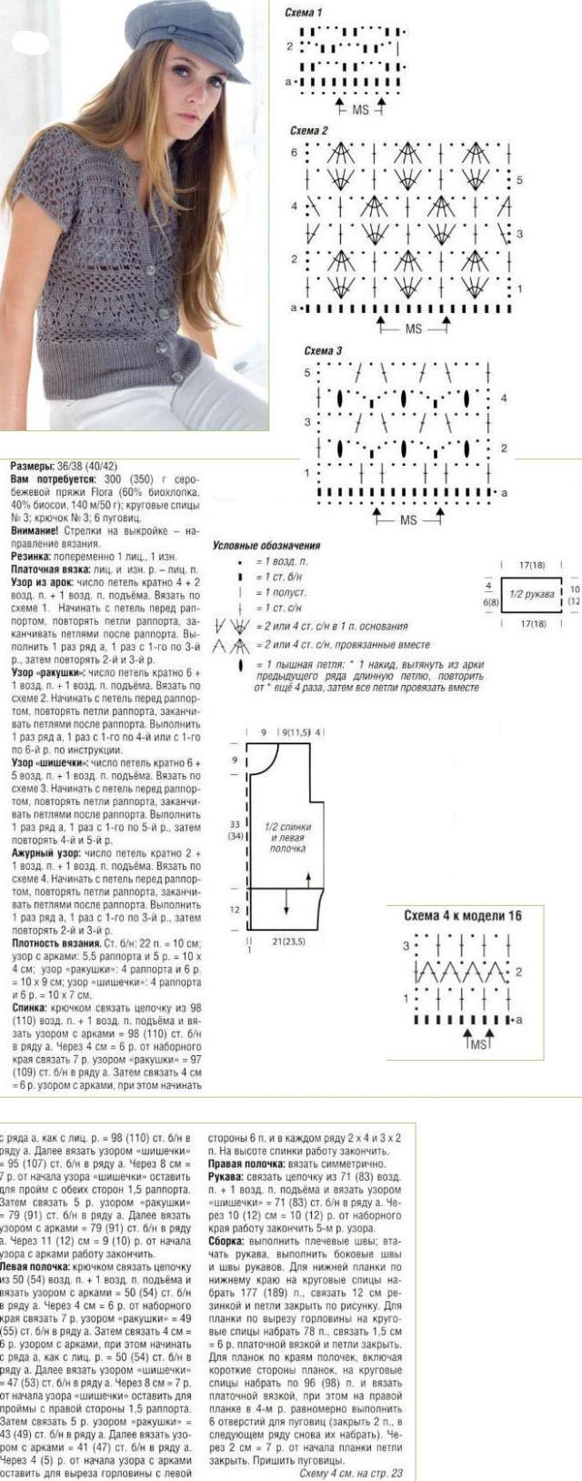 летние кофты спицами описание вязания и их схемы
