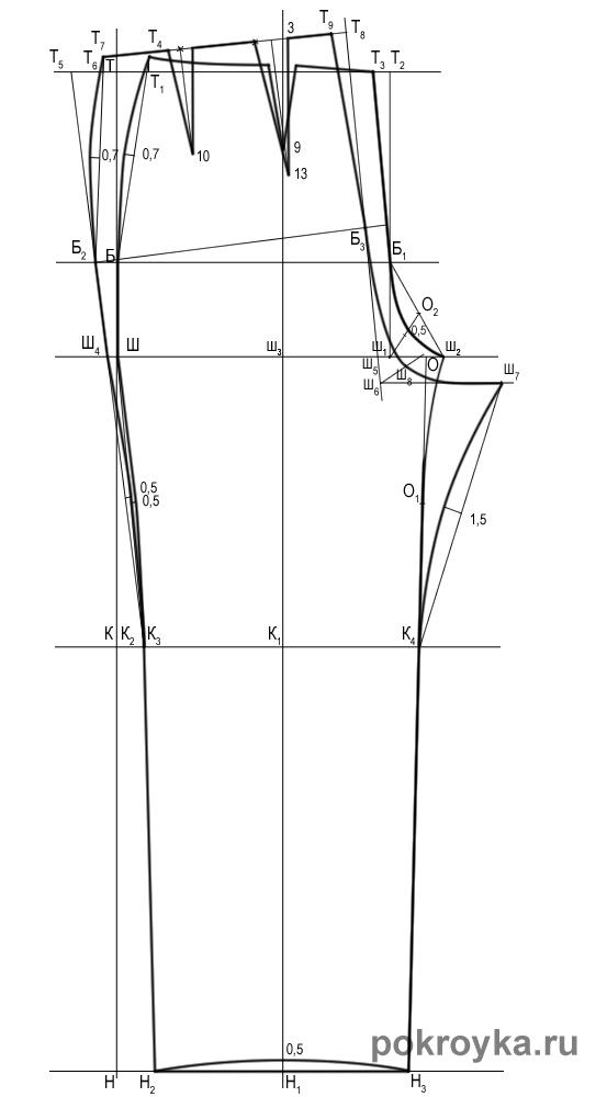 Выкройка платья-трапеции, размер 44-50. Платье с капюшоном. Прямые узкие брюки с манжетами, размер 42-48