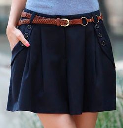 Юбка-шорты - свободные в области бедер, расширенные книзу шорты выполняются на базовой выкройке юбки